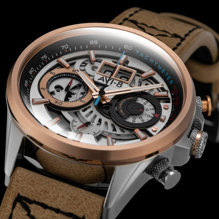 AVI-8 Hawker Harrier II Matador Chronograph Silver Brown