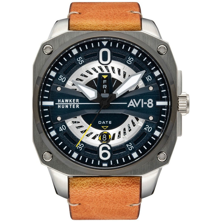 AVI-8 Hawker Hunter Day Date AV-4057-02 Brown Silver