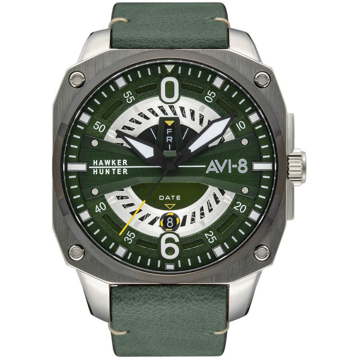 AVI-8 Hawker Hunter Day Date AV-4057-03 Dark Green Silver