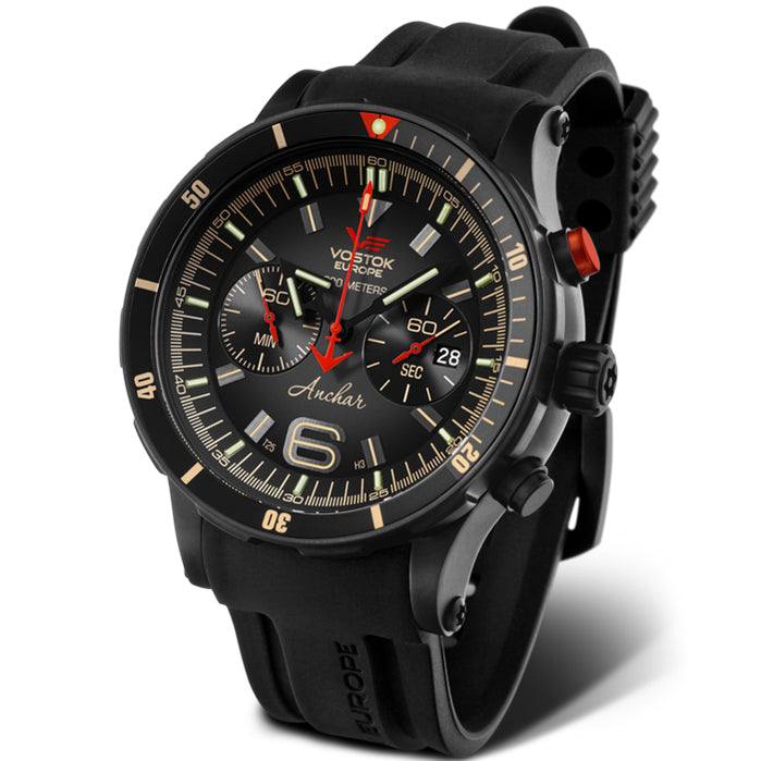 Vostok-Europe Anchar Dive Chrono Black Red angled shot picture