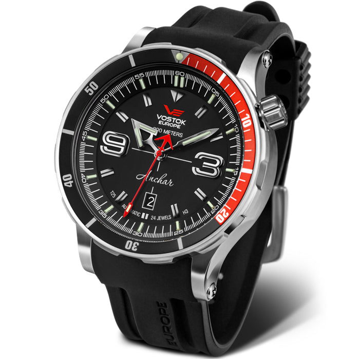 Vostok-Europe Anchar Dive Automatic Black Red angled shot picture