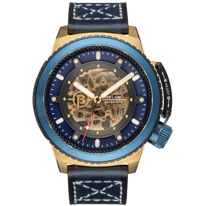 Ballast Trafalgar Skeleton Automatic Gold Blue angled shot picture