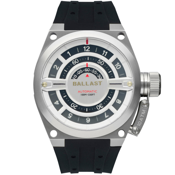 Ballast Valiant Gauge Automatic Silver White angled shot picture