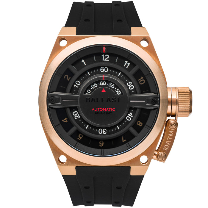 Ballast Valiant Gauge Automatic Rose Gold Black angled shot picture