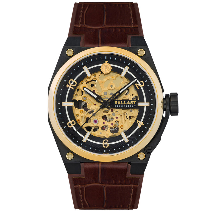 Ballast Valiant Officer Automatic Black Gold angled shot picture