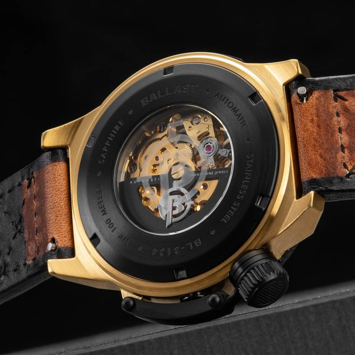 Ballast Trafalgar Skeleton Automatic Gold Brown angled shot picture