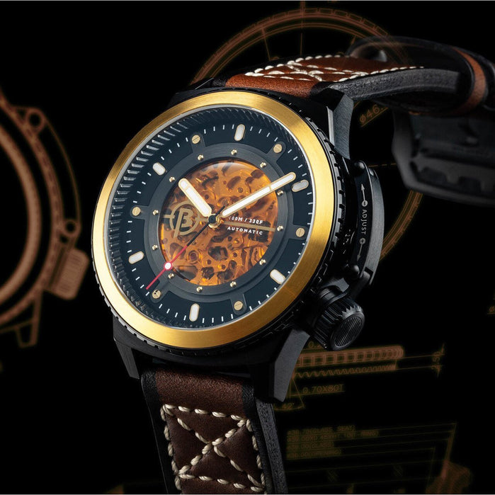 Ballast Trafalgar Skeleton Automatic Black Brown angled shot picture