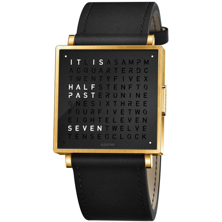 Qlocktwo W 35mm Gold Black