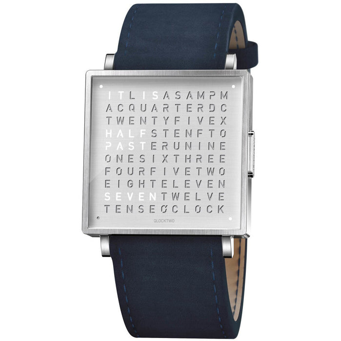 Qlocktwo W 35mm Steel Dark Blue angled shot picture