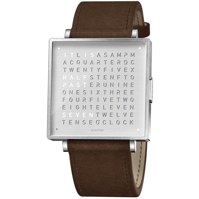Qlocktwo W 39mm Steel Brown angled shot picture