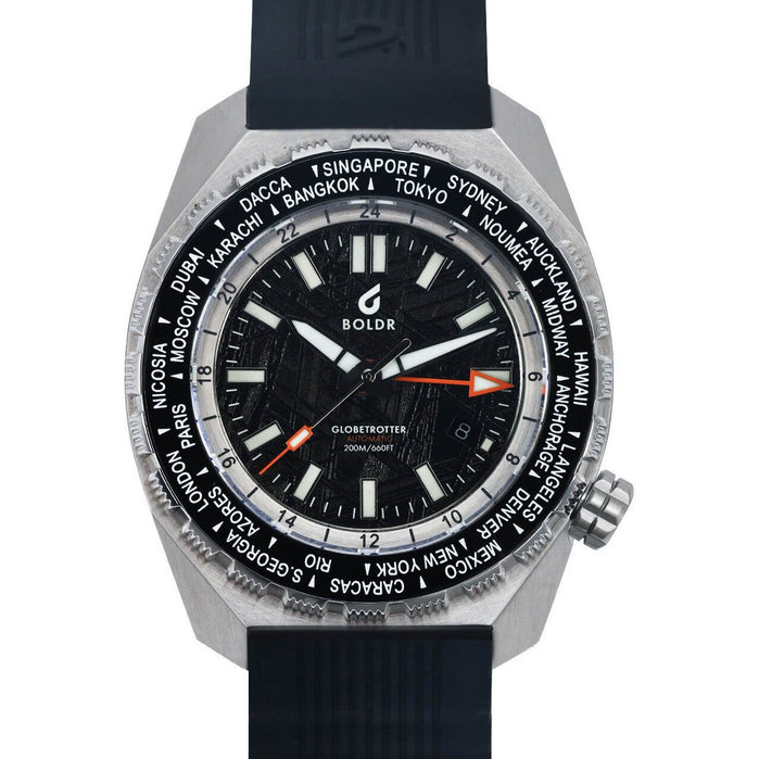 BOLDR Globetrotter GMT Swiss Automatic Meteorite Black Limited Edition angled shot picture