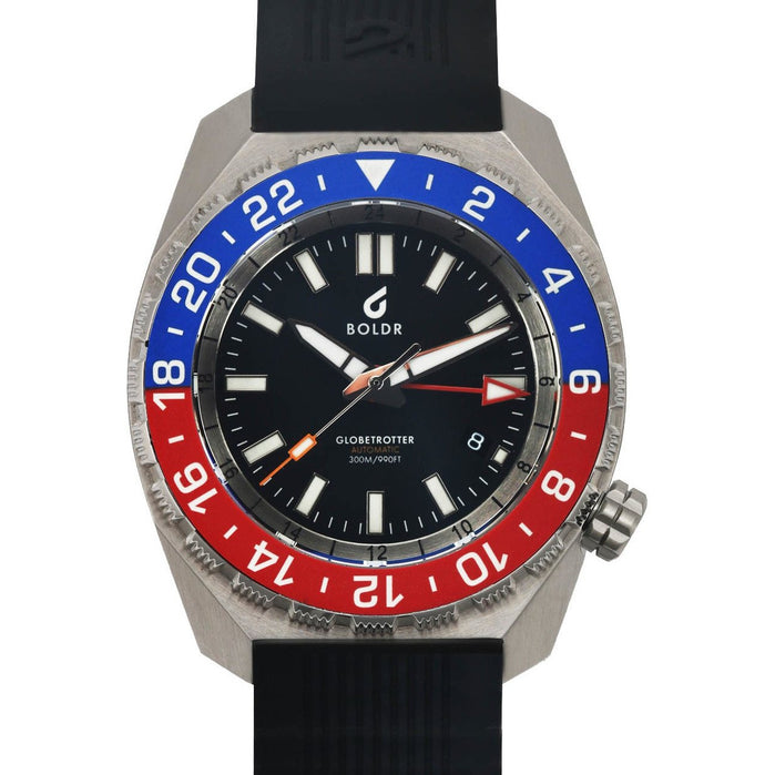 BOLDR Globetrotter GMT Swiss Automatic Blue Red Limited Edition angled shot picture
