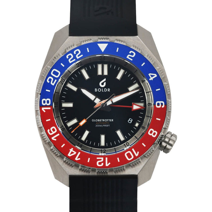 BOLDR Globetrotter GMT Swiss Automatic Blue Red Limited Edition