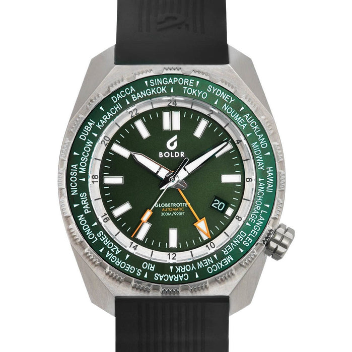 BOLDR Globetrotter GMT Swiss Automatic Emerald Limited Edition angled shot picture