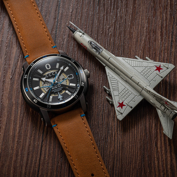 CCCP MIG-21 Automatic Silver Brown Limited Edition angled shot picture