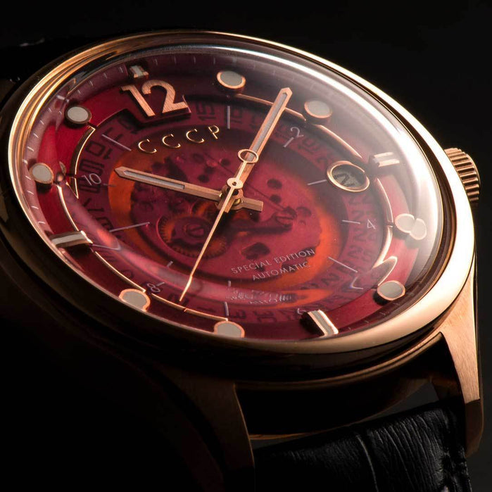 CCCP Sputnik-2 Automatic Rose Gold Black Red angled shot picture
