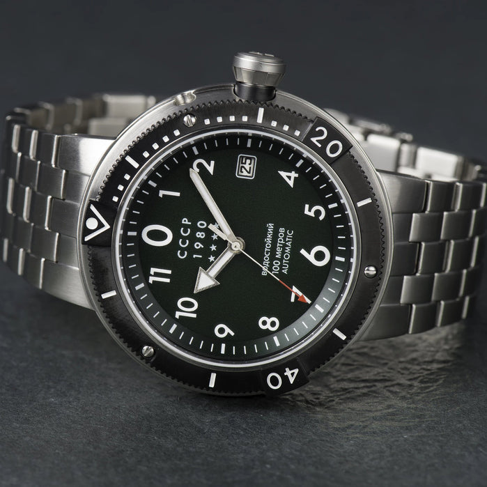 CCCP Kashalot Submarine Automatic Silver Green SS angled shot picture