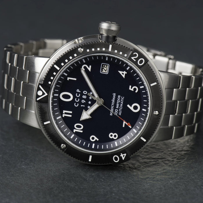 CCCP Kashalot Submarine Automatic Silver Blue SS angled shot picture