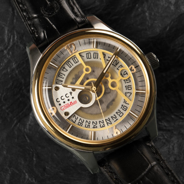 CCCP Sputnik-2 Automatic Silver Gold Black angled shot picture