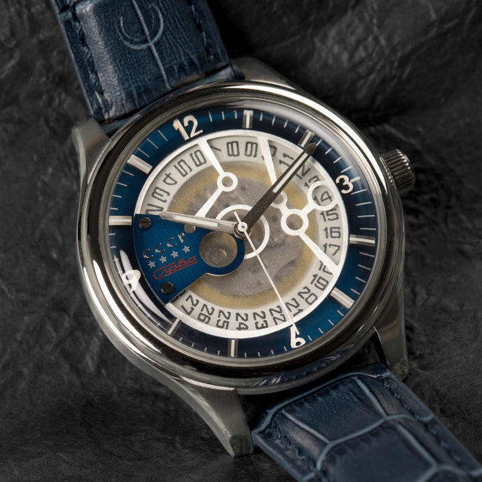 CCCP Sputnik-2 Automatic Silver Blue angled shot picture