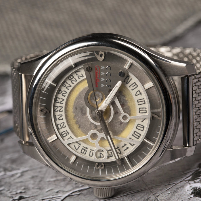 CCCP Sputnik-2 Automatic Silver Grey Mesh angled shot picture