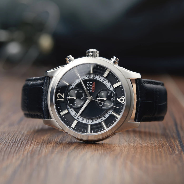 CCCP Balaklava Chronograph Silver Black angled shot picture