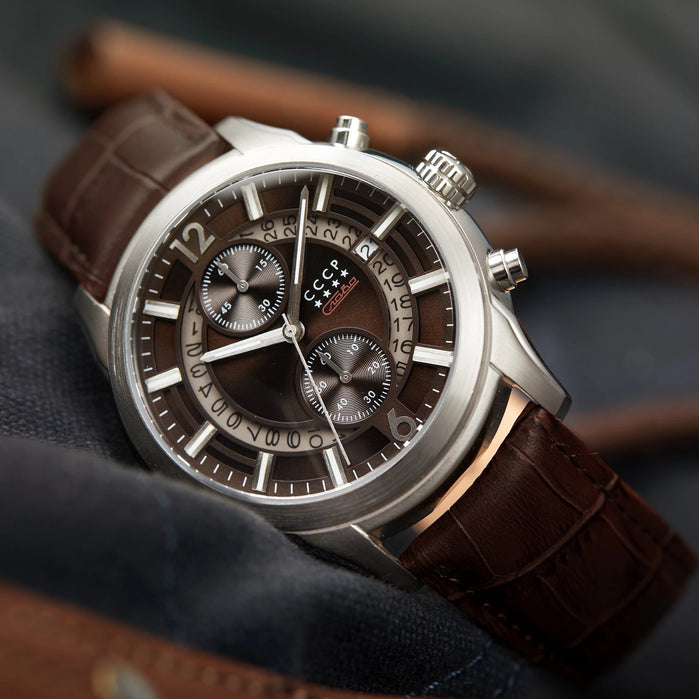 CCCP Balaklava Chronograph Silver Brown angled shot picture