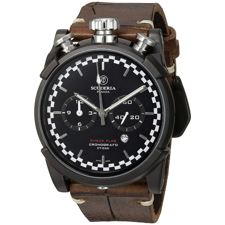 CT Scuderia Check Flag Black Vintage Leather Watch