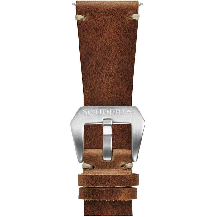 CT Scuderia 26mm Waxed Medium Brown Leather Strap angled shot picture