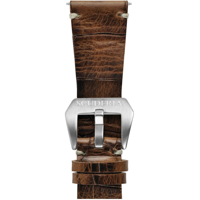 CT Scuderia 26mm Croc Print Waxed Brown Leather Strap angled shot picture