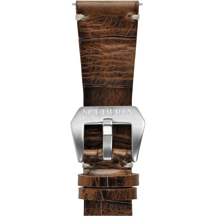 CT Scuderia 26mm Croc Print Waxed Brown Leather Strap