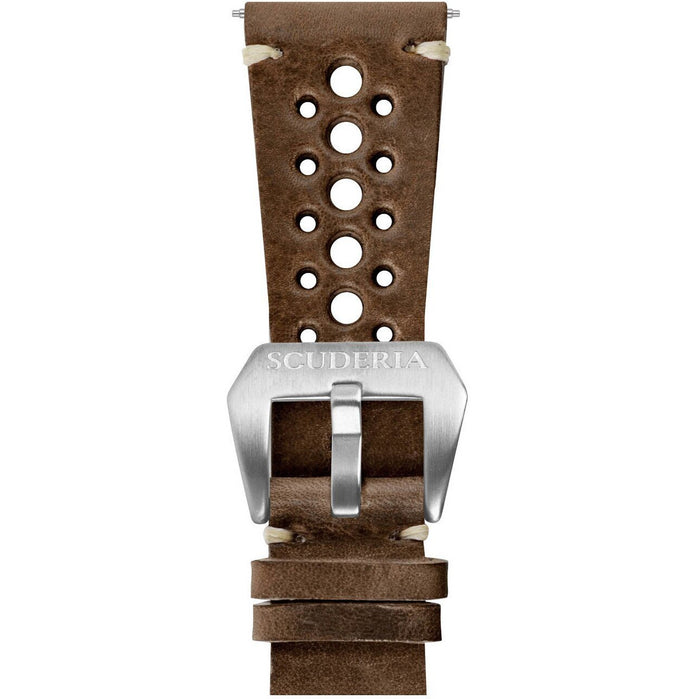 CT Scuderia 24mm 15 Hole Waxed Dark Brown Leather Strap angled shot picture