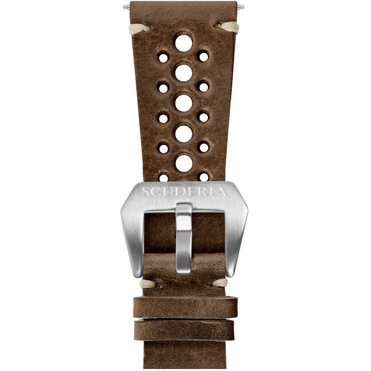 CT Scuderia 24mm 15 Hole Waxed Dark Brown Leather Strap