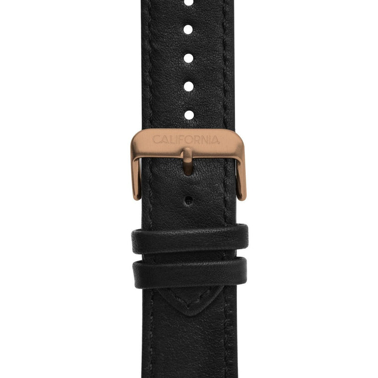 California Watch Co. 22mm Leather Black Rose Gold