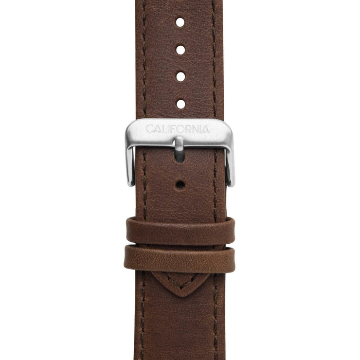 California Watch Co. 22mm Leather Dark Brown Silver