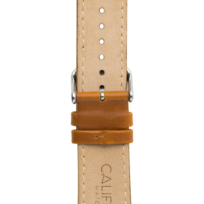 California Watch Co. 22mm Leather Brown Silver angled shot picture