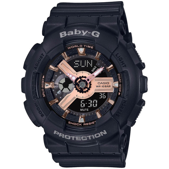 G-Shock BA110RG Baby-G Rose Gold Black angled shot picture
