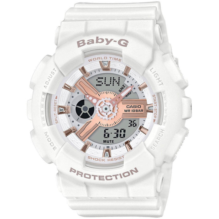 G-Shock BA110RG Baby-G White Rose Gold angled shot picture