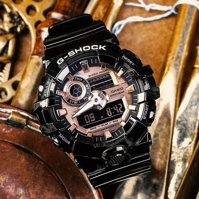 G-Shock GA700 Black Metallic Rose Gold angled shot picture