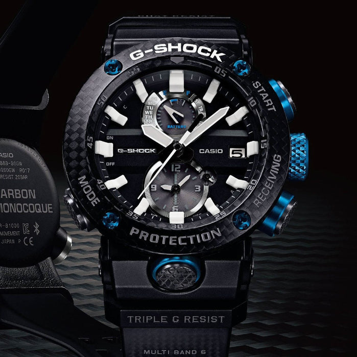 G-Shock GWRB1000 Gravitymaster Carbon Guard Solar Black Blue angled shot picture
