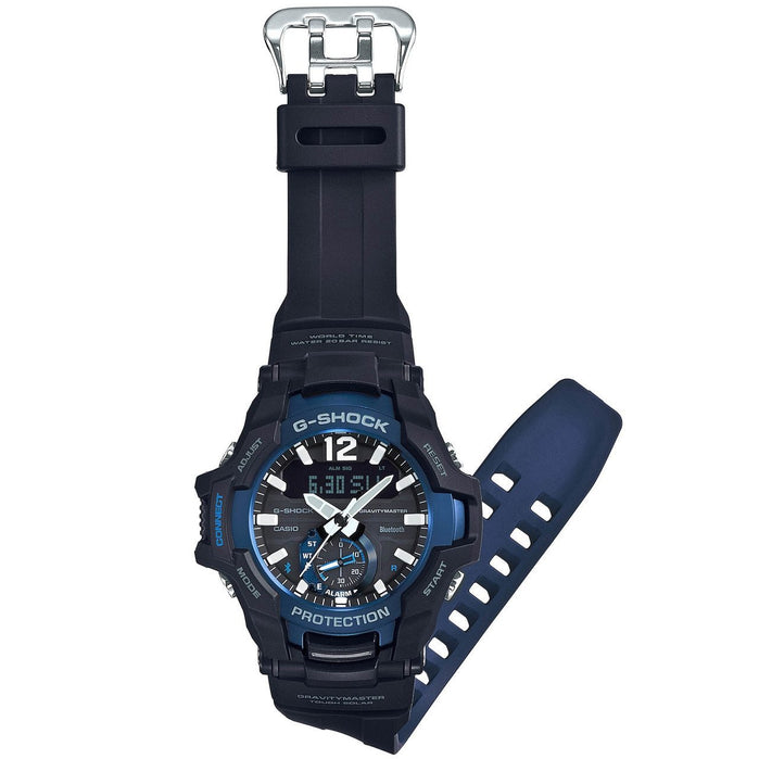 G-Shock GR-B100 Gravitymaster Connected Solar Black Blue angled shot picture