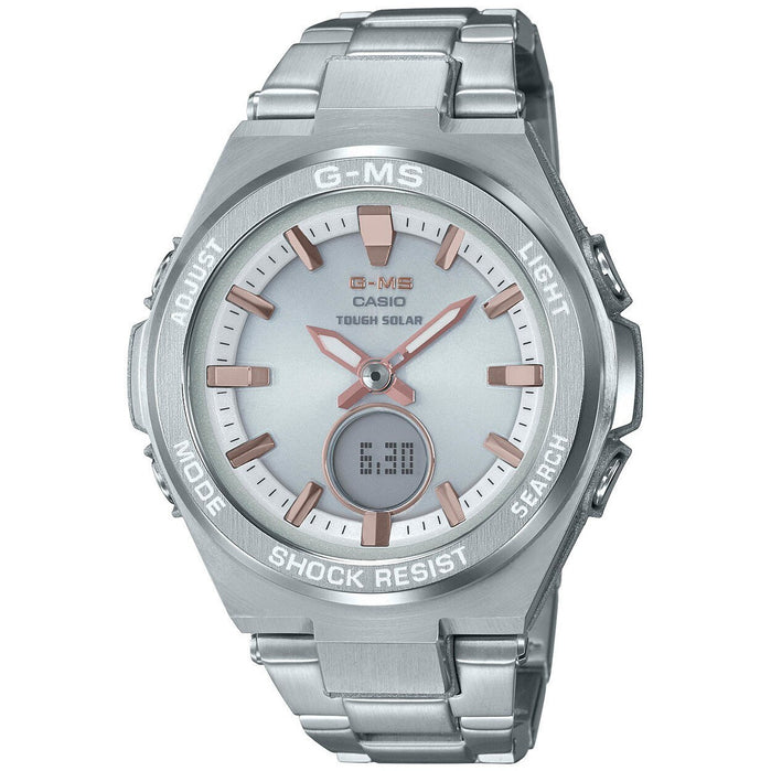 G-Shock MSGS200D G-MS Solar Ana-Digi Silver Rose Gold SS angled shot picture