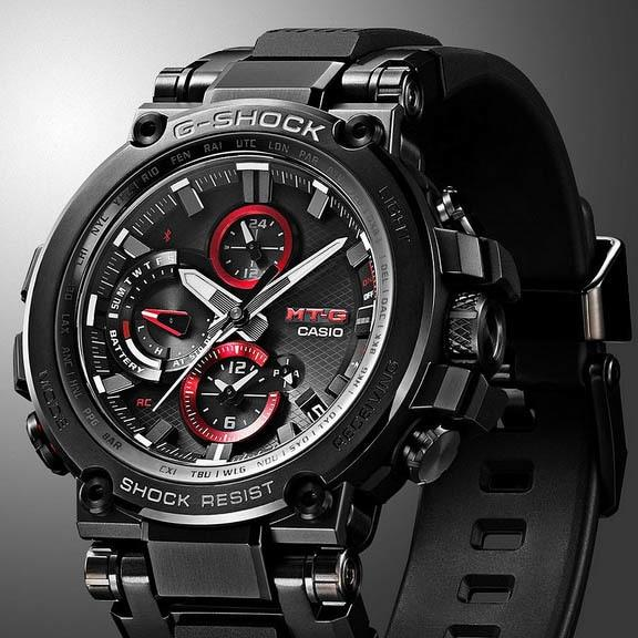 G-Shock MTG-B1000 Connected Solar Black Red angled shot picture