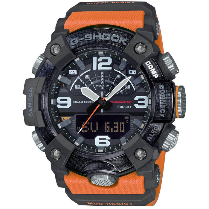 G-Shock GGB100 Mudmaster Connected Ana-Digi Black Orange angled shot picture