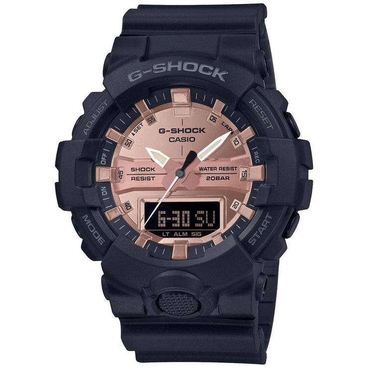 G-Shock GA800 Ana-Digi Black Metallic Rose Gold