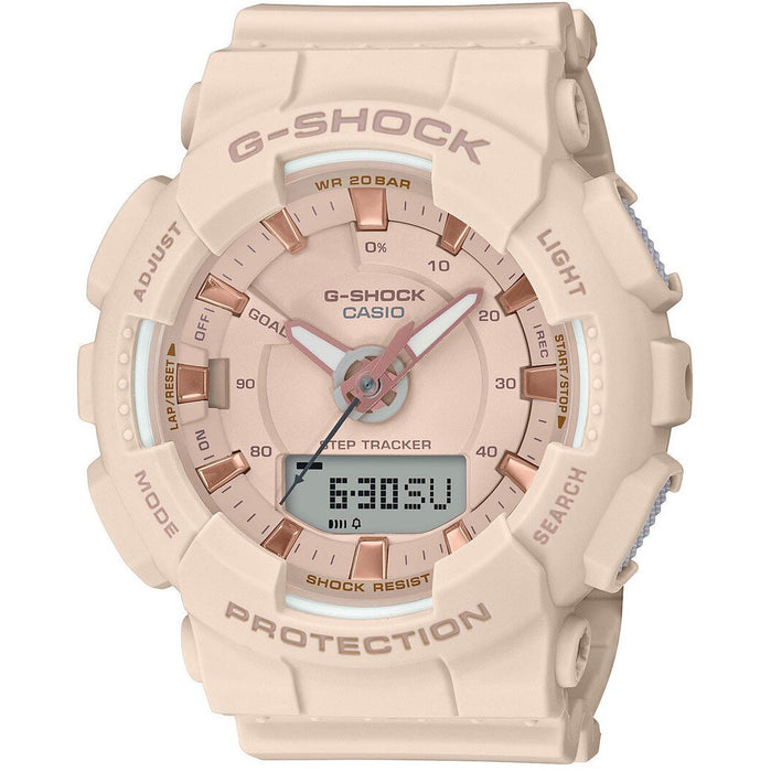 G-Shock GMAS130 S Series Blush Rose Gold angled shot picture