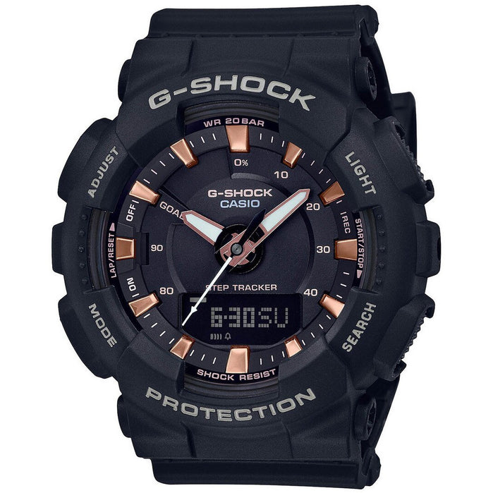 G-Shock GMAS130PA S-Series Ana-Digi Pink Gold Black angled shot picture