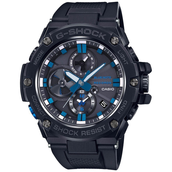 G-Shock GSTB100 G-Steel Connected Blue Note 80th Anniversary Black Blue angled shot picture