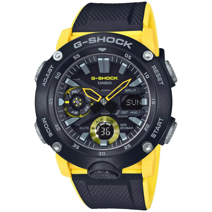 G-Shock GA2000 Carbon Core Ana-Digi Black Yellow angled shot picture