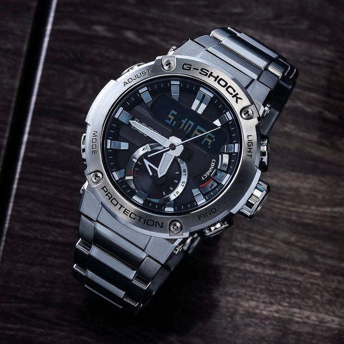 G-Shock GSTB200 Carbon Core Solar Ana-Digi Silver angled shot picture